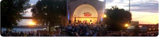 Image of the W.D. Peterson Memorial Music Pavilion with Bix Jazz Society crowd