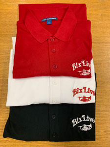 Image of Bix Jazz Society Polo shirts in red, white, and black designs