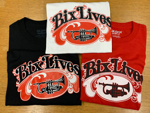 Image of Bix Jazz Society T-shirts in black, white, and red designs